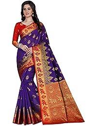 G Stuff Fashion Women Cotton saree with Blouse Piece_FD_Purple_matka_saree