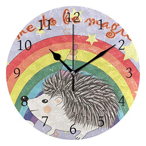 Ahomy - Reloj de Pared Redondo, diseño de Erizo con Unicornio arcoíris