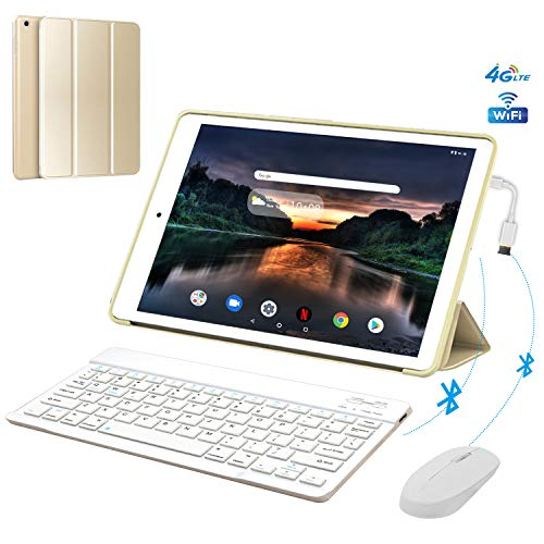"4G Call Tablette Tactile 10,1"" 3Go RAM 32Go ROM/128Go Android 8.1 OTG 8500mAh Batterie - IPS HD 1280*800 Pixel Dual SIM WiFi FM Radio Tablette Pas Cher 4g Portable Débloqué (Or)"