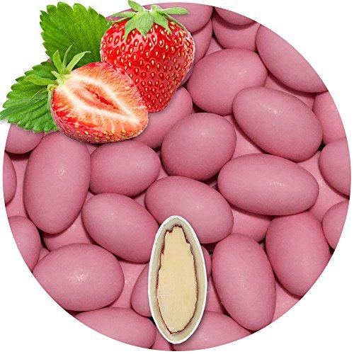 EinsSein 0,5kg Schokomandeln Erdbeere rosa matt Hochzeitsmandeln Mandeln Hochzeit Taufmandeln Gastgeschenke Zuckermandeln Bonboniere Confetti Badem sekeri Gastgeschenk Zucker Candy Bar Süssigkeiten (Gold-verpackung Schokolade Im)