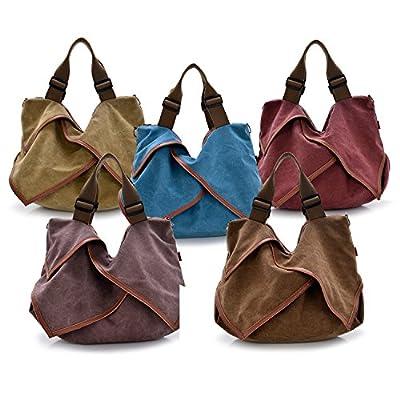 Women's Canvas Handbag, TECOOL Vintage Shoulder Bag Large Casual Top Handle Satchel Cross Body Messenger for Weekender Traveler, Retro Hobo Purse Every Day Shopping Tote