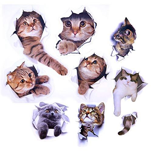 Paizizi Katzen Aufkleber Wand 3D Abnehmbare Wandtattoo für Auto Fenster Toilette Badezimmer Schlafzimmer Kinderzimmer Küche Wand Dekor