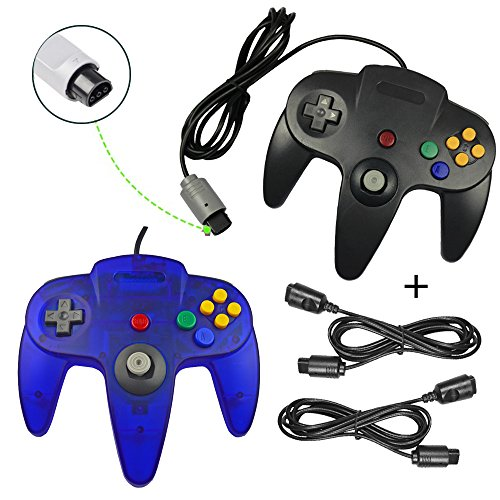 koalud Classic Retro Wired Gamepad Controller mit 2 x 6 ft Verlängerung Kabel für Nintendo 64 Nintendo64 N64 Konsole Black and Clear blue