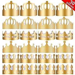 Idea Regalo - Yaomiao 30 Pezzi Corone di Carta Festa Corona d'oro Cappelli Re Corona per Festa di Compleanno Foto Puntelli
