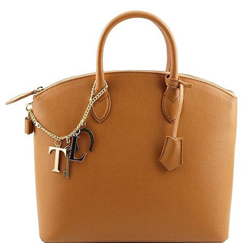 Tuscany Leather - TL KeyLuck - Sac cabas en cuir Saffiano - Cognac