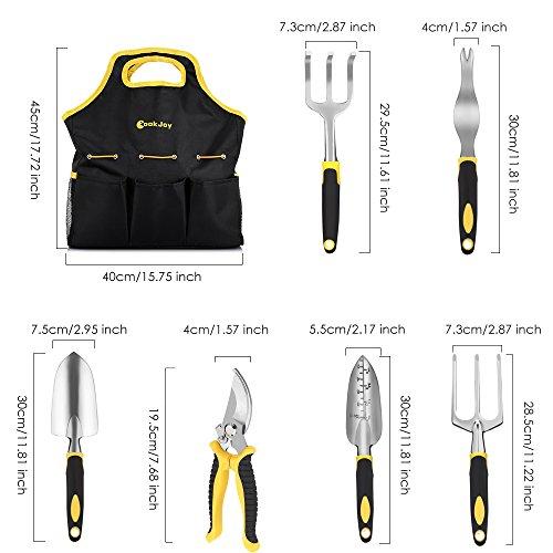 Strunmenti Attrezzi, Set da Giardino,Garden Tool set 6 Utensili in Lega di Alluminio con Manici Ergonomici,con un Durevole Jean Tessuto Borsa - 5