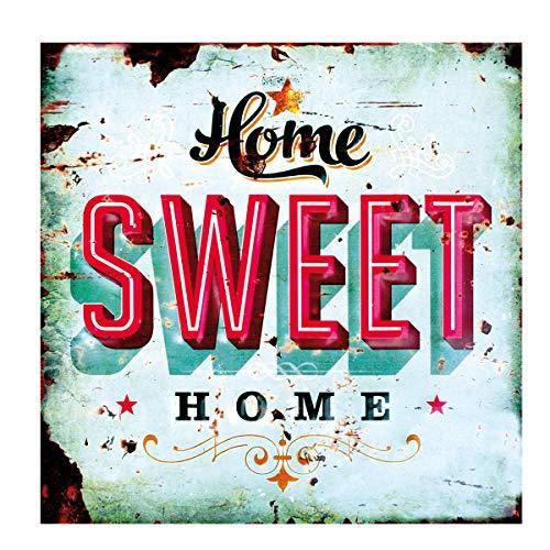 LB H&F Blechschild Blech Schild Metallschild Nostalgie Retro Home Sweet Home türkis 30x30 cm Gross (Home) -
