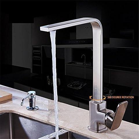 Modylee Nichel spazzolato della cucina del rubinetto in ottone girevole Lavelli rubinetto a 360 gradi di rotazione rubinetto da cucina -7119N , 2