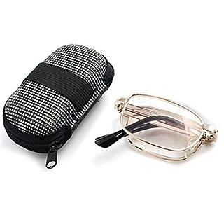 Foxnovo Anti-Müdigkeit Falten Handy lesen Brille presbyopisch Brille + 2,0 Pocket mit Reißverschluss Nylon Etui