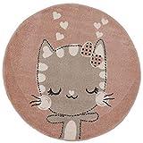 | Kinderteppich Happy Kitty | Tiere Katze | Kinderteppiche für Mädchen und Jungen | Teppich für Kinderzimmer Farbe: Rosa & Grau |Schadstofffrei Kinderzimmerteppiche geprüft von Öko-Tex |Ø 120 cm Rund