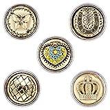Morella® Damen SMALL Click-Button Set 5 Stück Druckknöpfe 12 mm Ø Pferd Hufeisen Krone mit Herz und Glücksbringer
