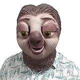 CYCG Deluxe Neuheit HalloweenLatex Maske Film Zootopia Faultier Sloth Maske,Halloween-Kostüm-Party-Latex-Tierkopf-Schablone Masken,Kostüm für Erwachsene,Unisex Einheitsgröße