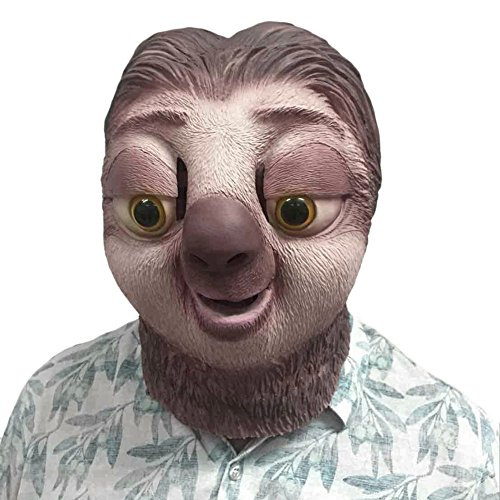 Halloween Latex Maske Film Zootopia Faultier Sloth Maske,Halloween-Kostüm-Party-Latex-Tierkopf-Schablone Masken,Kostüm für Erwachsene,Unisex Einheitsgröße ()