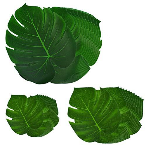 36 Stück Tropische Blätter künstlich Gefälschte Palmblatt Palmenblätter Monstera Kunstpflanze Floristik Basteln Deko für Tischdekoration Hawaii Jungle Beach Dschungel Theme Party Dekorationen