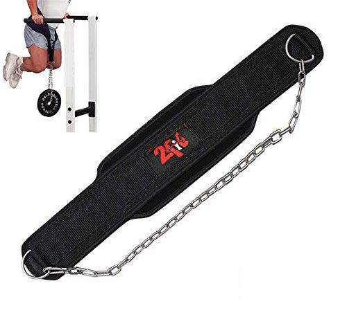 2Fit - cinturón de inmersión, de neopreno para levantamiento de peso, para gimnasio Entrenamiento Cuerpo, con cadena de metal, negro