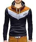 BetterStylz Kapuzenpullover Arturo Seitliche Schnürung Pullover Hoodie Sweatshirt Viele Farben (S-XXL) (L, Dunkel Grau/Weiß/Caramel)