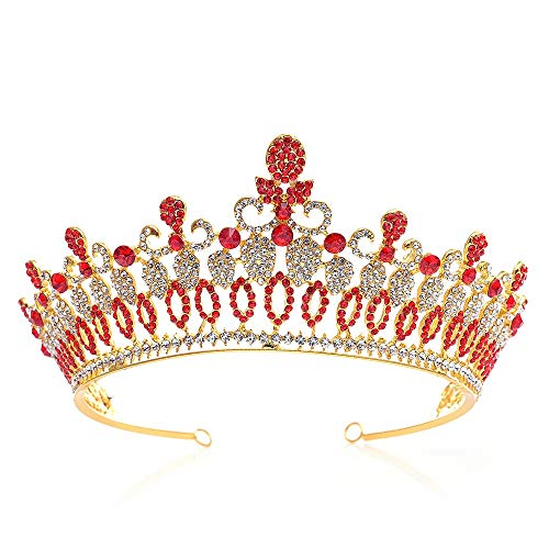 Quskto Ladies Tiaras Fashion Royal Crown Strass Braut Stirnband Pageant Princess Braut Hochzeit Prom Crown Kristall Hochzeit Braut Haarschmuck (Color : Red, Size : 14.5 * 7.5cm) -