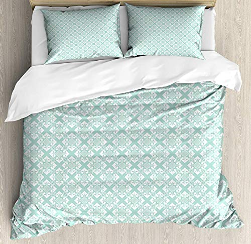 JamirtyRoy1 Teal and White Duvet Cover Set Double Size, Old Fashioned Abstract Mosaic Design Elements with Floral Details, Decorative 3 Piece Bedding Set with 2 Pillow Shams, Mint Green White -