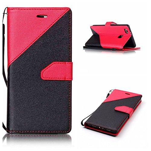 Qiaogle Téléphone Coque - PU Cuir rabat Wallet Housse Case pour Apple iPhone 5 / 5G / 5S / 5SE (4.0 Pouce) - YX31 / Noir + Brun foncé YX25 / Noir + Rouge
