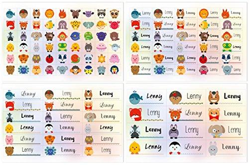 Kigima 114 Aufkleber Sticker Namens-Etiketten rechteckig Lenny Verschiedene Größen und Tiermotive