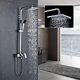 Auralum Duschset Duschkopf-Mischbatterie 3-Funktion Duschsystem mit Brause Wasserhahn Duschköpfe Duscharmatur Brauseset(Einstellbare Duschrohrs 90-130cm)