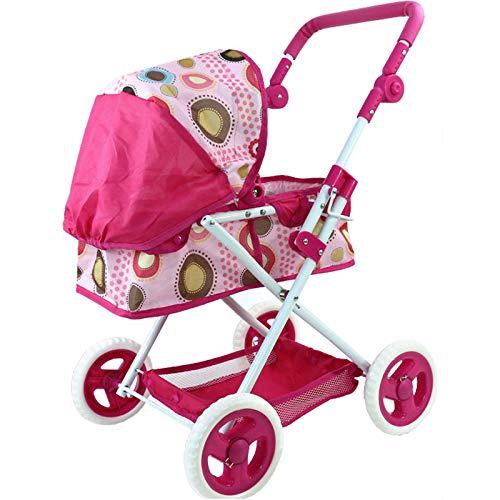 Dominiti Puppenwagen mit Flüsterreifen / Kinderwagen für Puppen, Verstellbarer Griff