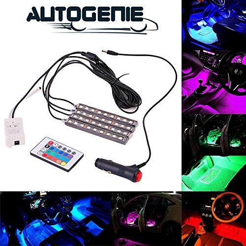 Autogenie NightVision LED Auto Innenbeleuchtung mehrfarbig Atmosphäre Licht RGB KFZ Streifen Zigarettenanzünder Fernbedienung