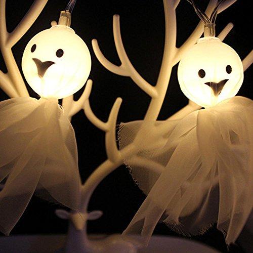 een Dekoration String Lights Ghost String LED Lichter, Fairy String Lights für Halloween Weihnachten Parteien Home Decorations, Warm White, 1.5 Meter/10LED (Halloween Ghost Lights)