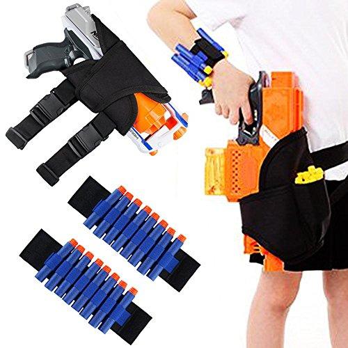 AOLVO für Nerf Gun Holster Gürtel und HASBRO 2Bullet Armband Kit N-Strike Elite Series Blaster, schwarz -
