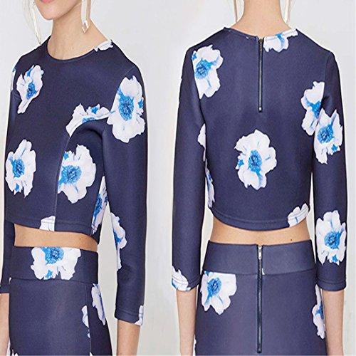Les Femmes D'Ete Lilas Bleu Imprime Eclair Dans Le Dos Mince Ventre Courte Tete Shirts Chemisiers Indigo