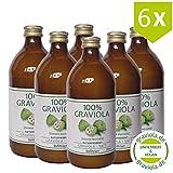 6 x 100% Graviola Frucht-Saft -unfiltriert & vegan- (6 x 500ml), Vorteilskauf. Stachelannone, Soursop, Corossol, Guanabana.