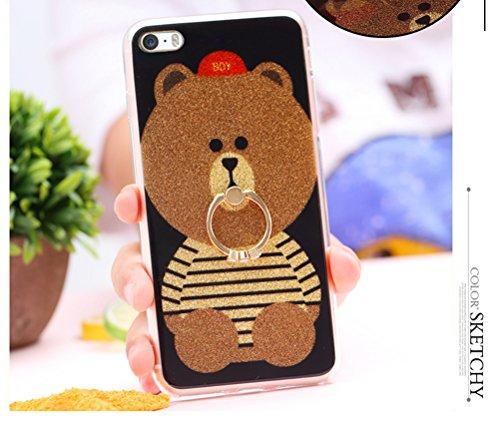 Coque iPhone 5/ iPhone 5S/ iPhone SE,Manyip Coque Protection complète en cerclage à 360 °,La nouvelle main glissante Coque pour iPhone 5/ iPhone 5S/ iPhone SE,Belle décoration de l'ours et du diamant B