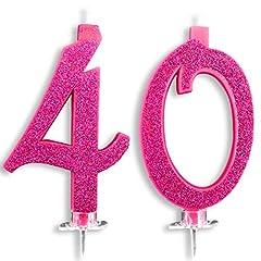 Idea Regalo - Candeline Maxi 40 Anni per Torta Festa Compleanno 40 Anni | Decorazioni Candele Auguri Anniversario Torta 40 | Festa a Tema | Altezza 13 CM Fucsia Glitter