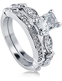 BERRICLE Rhodium Plated Sterling Silver Radiant Cut Cubic Zirconia CZ Solitaire Engagement Ring Set