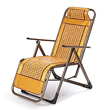 YHFX Home Neuer atmungsaktiver Office Bamboo Recliner Lunch Break Chair 105 (Color : Brass)