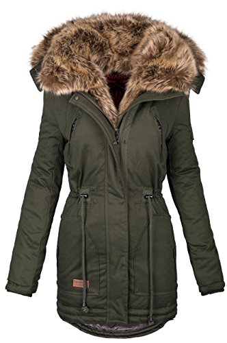 Bedeckt Knopf Vorne (Navahoo warme Damen Winter Jacke Parka lang Mantel Winterjacke Fell Kragen B380 [B380-Grün-Gr.S])