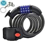 West VTT Câble antivol pour vélo antivol à combinaison 4pieds (1,2m) x 2/12,7cm (10mm) Flexible Lock noir Noir