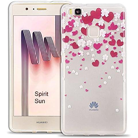 SpiritSun Custodia TPU silicone Trasparente Case per Huawei P9 Lite Ultra sottile Protezione Antigraffio Cover - Amore Rosa