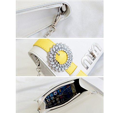 RAN Mini Sacchetto Diamante Lucido Mini Serratura Della Catena Del Pacchetto,Gray white