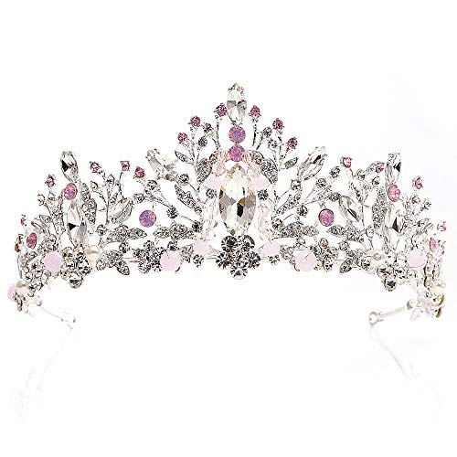 WANZIJING Braut Kopfschmuck koreanische Kinder Haar rosa Diamant Kristall handgefertigte Perlen Braut Prinzessin Krone Stirnband,Pink