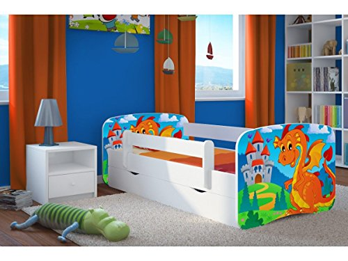 CARELLIA 'Kinderbett 80cm x 180cm mit Schubladen-Lattenroste-Matratze inkl. Kommode Dragon und Chateau-Weiß - Bett Chateau