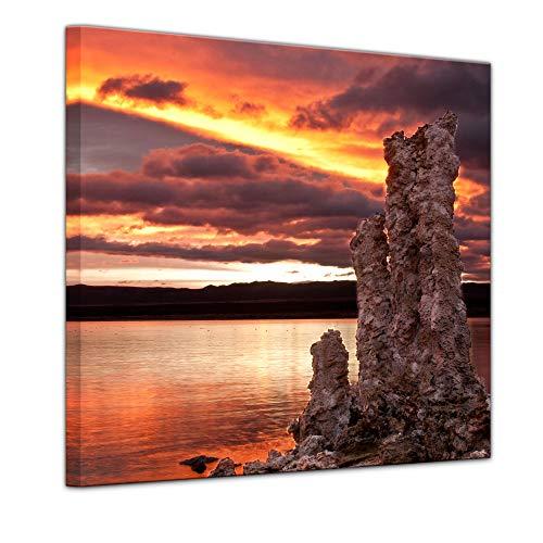 Wandbild - Mono Lake Kalifornien - Bild auf Leinwand - 40 x 40 cm - Leinwandbilder - Bilder als Leinwanddruck - Landschaften - Natur - See in den USA -