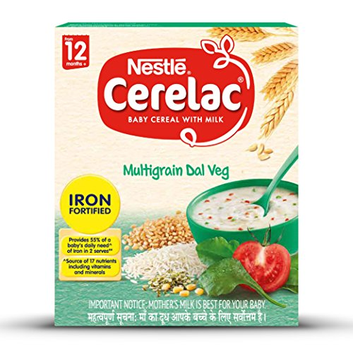 Nestle Cerelac Fortified Baby Cereal with Milk, Multigrain Dal Veg – From 12 Months, 300g Pack