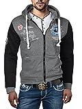 geiles Hoodie Oldschool con cappuccio giacca College Sweat giacca Baseball Sport giacca S M L XL XXL grigio/nero 54