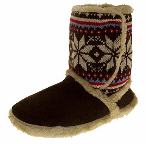 Coolers 078 Damen Faux-veloursleder Nordische Gestrickte Pantoffeln Stiefel Dunkel Braun EU 36-37 - Pelz-manschette Bootie