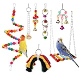 Meifyomng 7 Pcs Parrot Toy Set Birds Interaction Chew Toy Multicolor Wooden Swing Parakeet Cage Toy with Bell