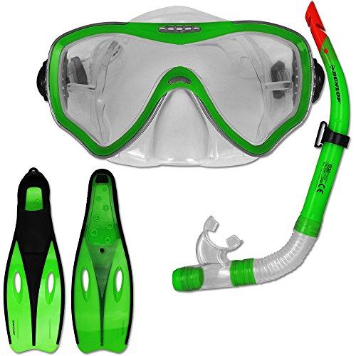Tauchset Dunlop mit Farb- und Größenauswahl - Schnorchel Set - Tauchermaske - Schnorchel - Schwimmflossen (Grün, 38-39)