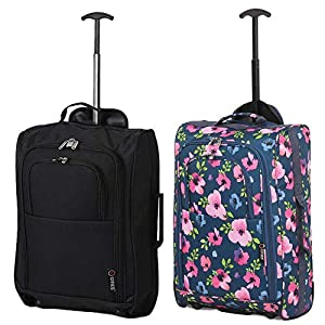 5 Cities Set of 2 Super Lightweight Cabin Approved Luggage Travel Wheely Suitcase Wheeled Bags Juego de maletas 55 centimeters 42 Azul (Navy Blue)