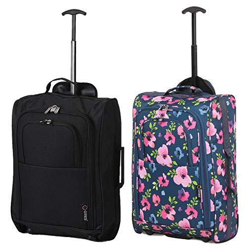 Set di 2 21'/ 55cm 5 Cities cabina Approvato mano bagaglio leggero sacchetti del carrello per Ryanair/Easyjet (Marina Militare Floreale + Nero)