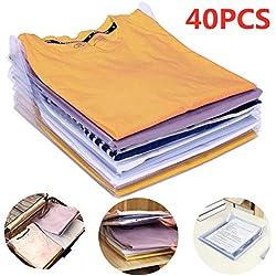 Nifogo Organisateur d'armoires,Organiseur de T-Shirt,Vêtements Documents Chemise T-Shirt de Taille Normale (40 Pack)
